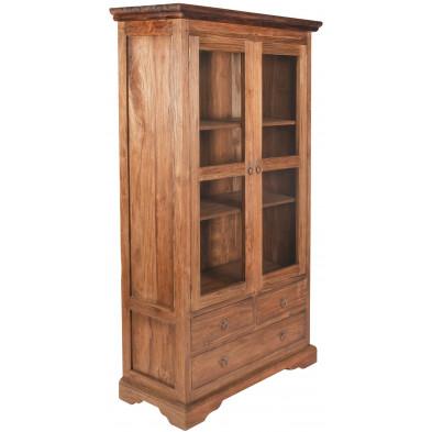 Meuble cabinet vitré en teck recyclé avec 2 portes et 3 tiroirs coloris naturel L. 98 x P. 44 x H. 183.5 cm collection Jemima