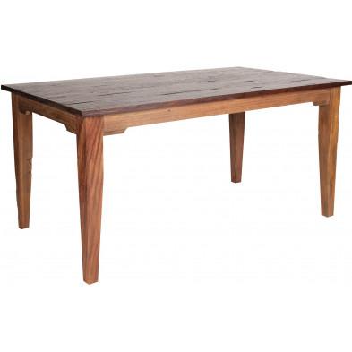 Table rustique rectangulaire en teck recyclé coloris naturel L. 180 x P. 90 x H. 77 cm collection Jemima