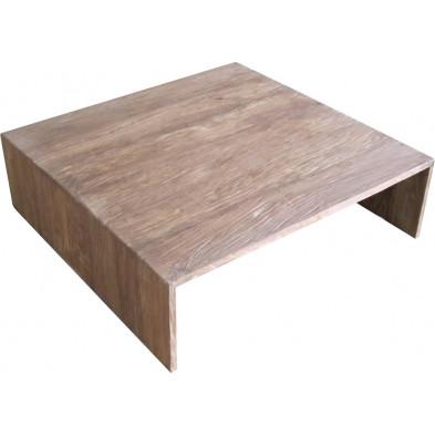 Table basse rustique carrée en teck recyclé coloris naturel L. 100 x P. 100 x H. 30 cm collection Jemima