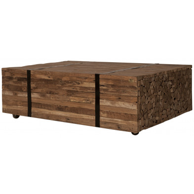 Table basse rustique en teck recyclé coloris naturel L. 110 x P. 72 x H. 35 cm collection Jemima