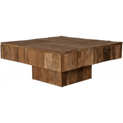Table basse carrée en teck recyclé coloris bois naturel L. 80 x P. 80 x H. 35 cm collection Jemima