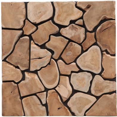 Tableau mural puzzle en teck recyclé coloris bois naturel L. 80 x P. 5 x H. 80 cm collection Zuidhoek