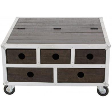 Table basse carrée industrielle en bois de manguier et aluminium avec 5 tiroirs et plateau rabattable coloris marron et blanc L. 90 x P. 90 x H. 47 cm collection Pennadomo