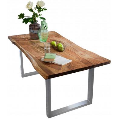 Table de salle à manger contemporaine en acacia coloris noyer avec une épaisseur plateau de 26 mm et un piètement en métal argent L. 200 x P. 100 x H. 77 cm collection Gardner