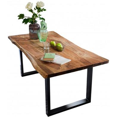 Table de salle à manger contemporaine en acacia coloris noyer avec une épaisseur plateau de 26 mm et un piètement en métal noir L. 200 x P. 100 x H. 77 cm collection Gardner