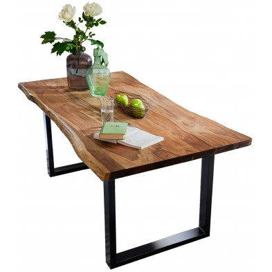 Table de salle à manger contemporaine en cognac  avec une épaisseur plateau de 26 mm et un piètement en acier noir L. 160 x P. 85 x H. 77 cm collection Gardner