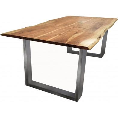 Table de salle à manger contemporaine en acacia et coloris naturel avec une épaisseur plateau de 26 mm et pied coloris argent  L. 160 x P. 85 x H. 77 cm collection Gardner