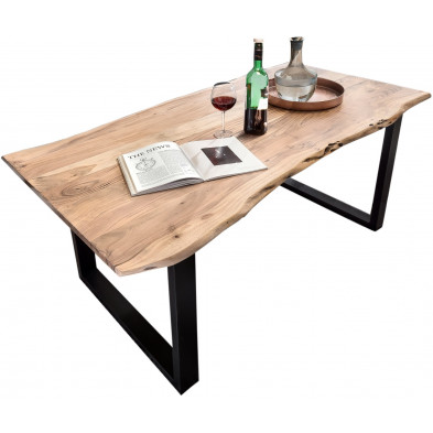 Table de salle à manger contemporaine en acacia coloris naturel et en métal noir avec une épaisseur plateau de 26 mm L. 180 x P. 90 x H. 77 cm collection Gardner