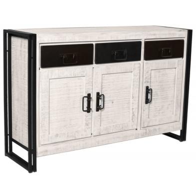 Buffet industriel en bois de manguier et aluminium   avec 3 portes et 3 tiroirs coloris blanc et noir L. 140 x P. 40 x H. 90 cm collection Johnsonville