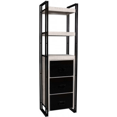 Bibliothèque industrielle en bois de manguier et aluminium avec 3 tiroirs et 2 étagères coloris blanc et noir L. 60 x P. 40 x H. 200 cm collection Johnsonville