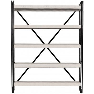 Bibliothèque industrielle en bois de manguier et aluminium avec 5 étagères coloris blanc et noir L. 140 x P. 40 x H. 200 cm collection Johnsonville