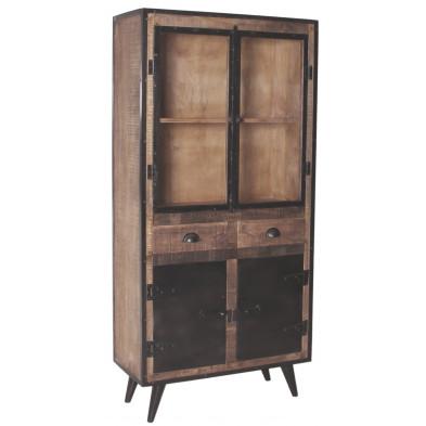 Vitrine industrielle en bois de manguier et fer forgé 4 portes 2 tiroirs coloris marron et noir antique L. 90 x P. 40 x H. 190 cm collection Concerned