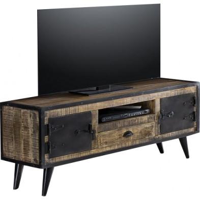 Meuble TV industriel en bois de manguier et fer forgé 2 portes 1 tiroir coloris marron et noir antique L. 140 x P. 40 x H. 55 cm collection Concerned