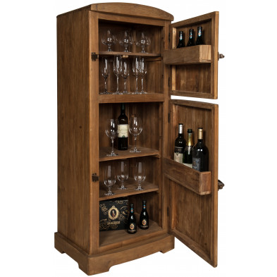 Meuble bar rustique en teck recyclé avec 2 portes coloris brun L. 60 x P. 50 x H. 154 cm collection Allow