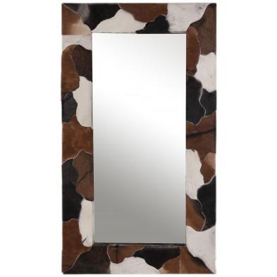 Miroir mural en peau de chèvre coloris blanc, marron et noir  L. 80 x P. 4 x H. 150 cm collection Kitty