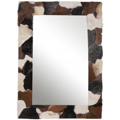Miroir mural en peau de chèvre coloris blanc, marron et noir L. 80 x P. 3 x H. 120 cm collection Kitty