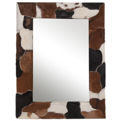 Miroir mural en peau de chèvre coloris blanc, marron et noir L. 80 x P. 3 x H. 60 cm collection Kitty
