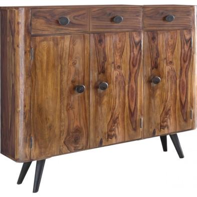 Bahut rustique avec 3 tiroirs et 3 portes en bois massif sheesham L. 140 x P. 35 x H. 85 cm collection Remain