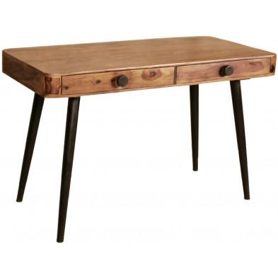 Bureau rustique avec 2 tiroirs en bois massif sheesham coloris naturel L. 120 x P. 60 x H. 76 cm collection Remain