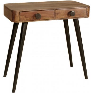 Console marron rustique avec 2 tiroirs en bois massif sheesham  coloris marron L. 75 x P. 40 x H. 76 cm collection Remain