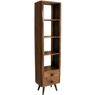 Bibliothèque marron rustique avec 3 étagères et 2 tiroirs en bois massif sheesham L. 50 x P. 35 x H. 200 cm collection Remain