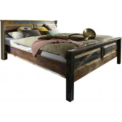 Lit 180x200 rustique en bois recyclé multicolore collection Aduna