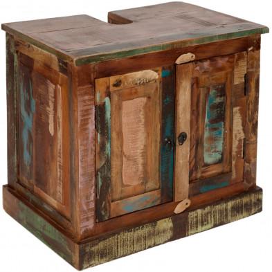 Meuble sous vasque rustique en bois recyclé avec 2 portes multicolore L. 66 x P. 43 x H. 60 cm collection Aduna