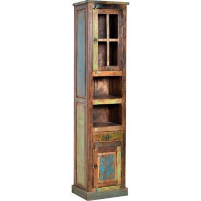 Meuble cabinet rustique en bois recyclé avec 2 portes et 1 tiroir multicolore L. 44 x P. 34 x H. 189 cm collection Aduna
