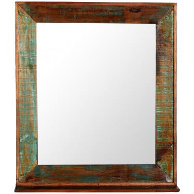 Miroir mural rustique avec tablette multicolore en bois recyclé  L. 68 x P. 8 x H. 79 cm collection Aduna