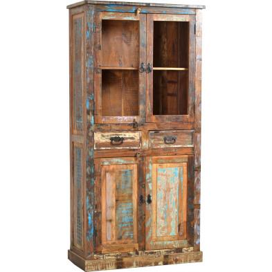 Cabinet de rangement rustique en bois recyclé avec 1 porte et 1 tiroir multicolore L. 90 x P. 40 x H. 180 cm collection  Aduna