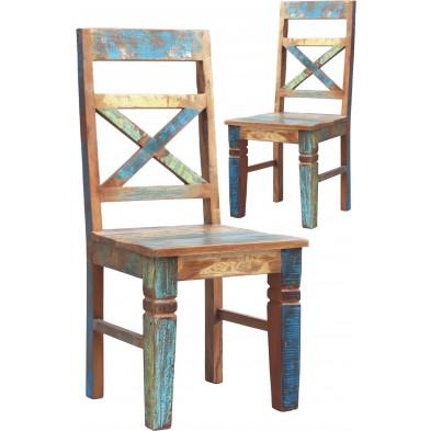 Lot de 2 chaises rustiques en bois recyclé multicolore L. 45 x P. 45 x H. 100 cm collection Aduna