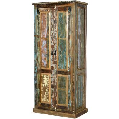 Armoire rustique à 2 portes en bois recyclé multicolore L. 80 x P. 45 x H. 180 cm collection Aduna