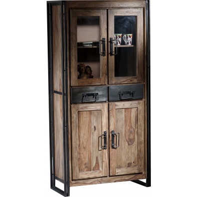 Vitrine design industriel en bois de sheesham et métal coloris naturel et noir L. 90 x P. 40 x H. 180 cm collection Henrietta