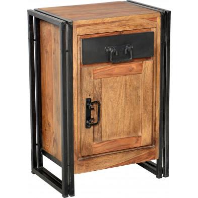 Meuble de rangement design industriel en bois de sheesham et métal coloris brun et noir L. 50 x P. 34 x H. 73 cm collection Henrietta