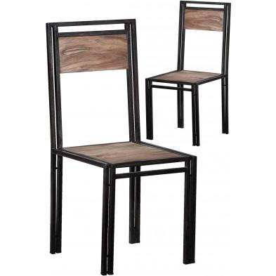 Lot de 2 chaises design industrielle en bois de sheesham et métal  coloris brun et noir antique L. 45 x P. 45 x H. 100 cm collection Henrietta