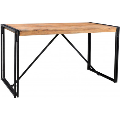 Table de salle à manger design industriel en bois de sheesham et métal coloris brun et noir L. 140 x P. 70 x H. 76 cm collection Henrietta