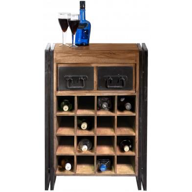 Meuble range bouteilles rustique en bois massif sheesham et piètement en acier compartiment pour 16 bouteilles avec 2 tiroirs L. 58 x P. 35 x H. 80 cm collection Henrietta