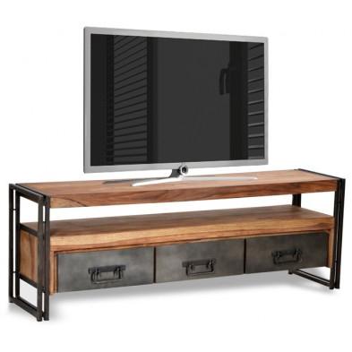 Meuble TV design industriel avec 3 tiroirs coloris marron et noir piètement en acier et structure en bois massif sheesham L. 160 x P. 40 x H. 55 cm collection Henrietta