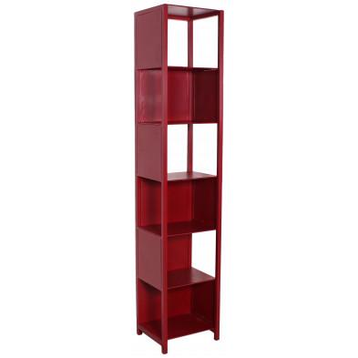 Bibliothèque rouge design industriel en acier L. 40 x P. 35 x H. 200 cm collection Henrietta
