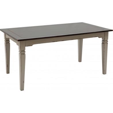 Table de salle à manger en acacia massif coloris blanc antique et taupe L. 160 x P. 90 x H. 77 cm collection Longdale