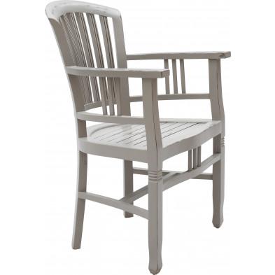 Chaise de salle à manger avec accoudoirs en bois d'acacia coloris blanc antique L. 55 x P. 55 x H. 95 cm collection Longdale