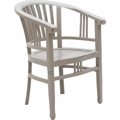 Chaise de salle à manger avec accoudoirs en bois d'acajou coloris blanc antique L. 60 x P. 61 x H. 87 cm collection Longdale