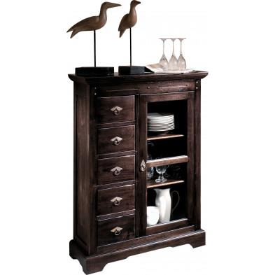Meuble cabinet de rangement  en acacia massif coloris marron antique L. 86 x P. 39 x H. 122.5 cm collection  Asmaa