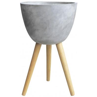 Cuve design en béton ø 43 cm coloris gris avec piétement en chêne collection Hoegen