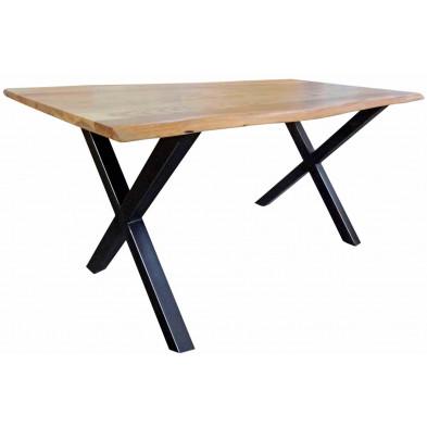Table de salle à manger contemporaine en acacia massif coloris naturel et métal noir avec une épaisseur plateau de 26 mm L. 180 x P. 90 x H. 77 cm collection Gardner