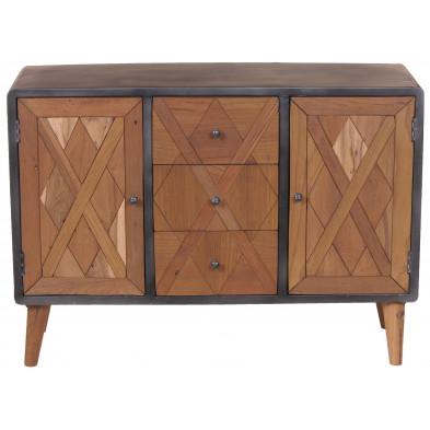 Buffet industriel avec 2 portes 3 tiroirs en teck et en métal coloris marron et gris antique L. 120 x P. 38 x H. 85 cm collection Voorthuizen