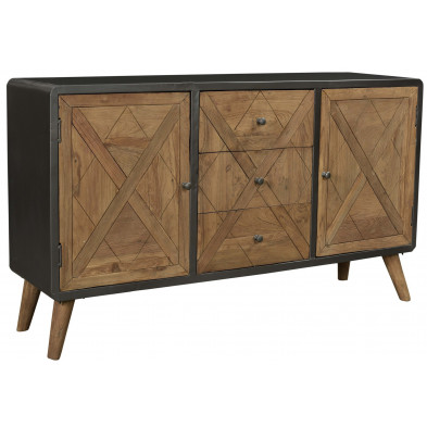 Buffet industriel avec 2 portes 3 tiroirs en teck et en métal coloris brun et gris antique L. 150 x P. 38 x H. 85 cm collection Voorthuizen