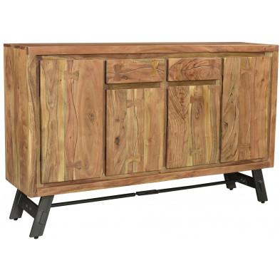 Buffet rustique en acacia et en métal avec 4 portes 2 tiroirs coloris naturel L. 150 x P. 38 x H. 90 cm collection Joyce