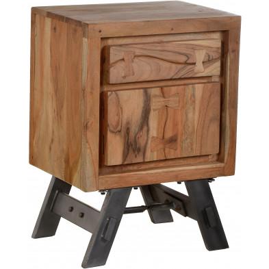 Table de chevet rustique en acacia et en métal avec 1 porte 1 tiroir coloris marron L. 45 x P. 33 x H. 63 cm collection Joyce