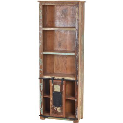Bibliothèque rustique en bois recyclé multicolore et en métal avec 5 compartiments et 1 porte coulissante L. 75 x P. 32 x H. 151 cm collection Ebersole